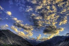 Ηλιοβασίλεμα της κοιλάδας Hunza, Πακιστάν Στοκ φωτογραφία με δικαίωμα ελεύθερης χρήσης