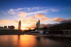 Ηλιοβασίλεμα της Λισσαβώνας EXPO στοκ φωτογραφίες