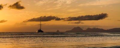 Ηλιοβασίλεμα της Μαρτινίκα Στοκ εικόνα με δικαίωμα ελεύθερης χρήσης