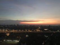 Ηλιοβασίλεμα της Μπανγκόκ στοκ εικόνες