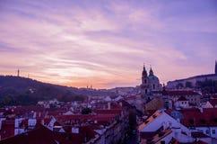 Ηλιοβασίλεμα της Πράγας Mala Strana Στοκ Εικόνες