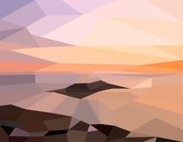 Ηλιοβασίλεμα τοπίων στη θάλασσα Στοκ εικόνα με δικαίωμα ελεύθερης χρήσης