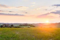 Ηλιοβασίλεμα Τοσκάνη Στοκ Εικόνες