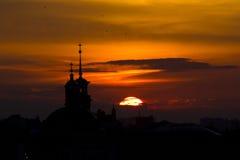ηλιοβασίλεμα του Κίεβ&omic Στοκ Εικόνες