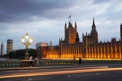 Ηλιοβασίλεμα του Λονδίνου ben το μεγάλο Κοινοβούλιο σπιτιών Στοκ Εικόνες