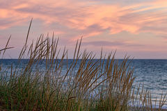 Ηλιοβασίλεμα του Μίτσιγκαν λιμνών χλόης παραλιών Στοκ φωτογραφία με δικαίωμα ελεύθερης χρήσης