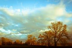 Ηλιοβασίλεμα το καλοκαίρι σε Oswestry, Shropshire, Αγγλία στοκ εικόνα