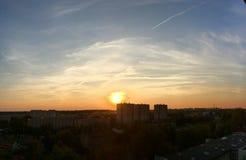 Ηλιοβασίλεμα φραγμών των επιπέδων Στοκ εικόνες με δικαίωμα ελεύθερης χρήσης
