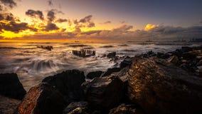 Ηλιοβασίλεμα Όμορφο ηλιοβασίλεμα Μαύρη Θάλασσα Χρυσό ηλιοβασίλεμα θάλασσας Θάλασσα εικόνων Στοκ φωτογραφίες με δικαίωμα ελεύθερης χρήσης