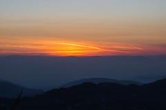 Ηλιοβασίλεμα όπως βλέπει από την ακρόπολη Civitavecchia Di Arpino, Ιταλία Στοκ εικόνα με δικαίωμα ελεύθερης χρήσης
