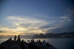 Ηλιοβασίλεμα Arpoador Στοκ φωτογραφία με δικαίωμα ελεύθερης χρήσης