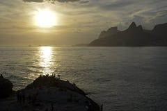 Ηλιοβασίλεμα Arpoador Στοκ Εικόνες