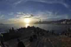 Ηλιοβασίλεμα Arpoador Στοκ εικόνες με δικαίωμα ελεύθερης χρήσης