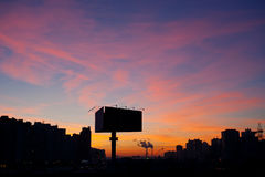 Ηλιοβασίλεμα citiscape των νέων φραγμών Kyiv Στοκ Εικόνες