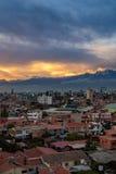 Ηλιοβασίλεμα Cochabamba Firey Στοκ Εικόνες