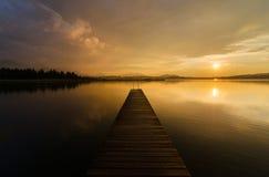 Ηλιοβασίλεμα @ Hopfensee Στοκ Εικόνα