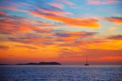 Ηλιοβασίλεμα Ibiza SAN Antonio Abad de Portmany Στοκ Φωτογραφίες