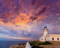 Ηλιοβασίλεμα Menorca Faro de Caballeria Lighthouse Στοκ Εικόνα