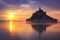 Ηλιοβασίλεμα mont-Άγιος-Michel Στοκ Φωτογραφία