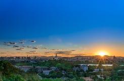 Ηλιοβασίλεμα ont το βουνό Στοκ Εικόνες