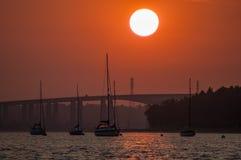 Ηλιοβασίλεμα Orwell ποταμών στην Αγγλία Στοκ Εικόνες