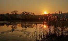 Ηλιοβασίλεμα ower η λίμνη Στοκ Φωτογραφίες