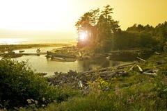 Ηλιοβασίλεμα Pacific Coast Στοκ Φωτογραφία