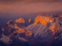 Ηλιοβασίλεμα Paine Macizo Στοκ φωτογραφία με δικαίωμα ελεύθερης χρήσης