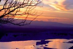 Ηλιοβασίλεμα Pamukkale Στοκ εικόνες με δικαίωμα ελεύθερης χρήσης