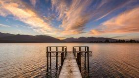Ηλιοβασίλεμα Te Anau λιμνών Στοκ Φωτογραφίες