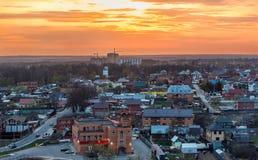 Ηλιοβασίλεμα, viilage, πόλη Στοκ Φωτογραφία