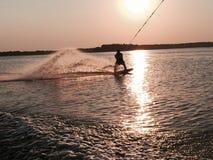 Ηλιοβασίλεμα Wakeboard Στοκ Εικόνα
