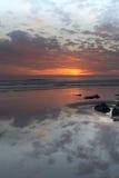 Ηλιοβασίλεμα Woolacombe   Ακτή του βόρειου Devon στοκ εικόνες