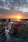 Ηλιοβασίλεμα Woolacombe   Ακτή του βόρειου Devon Στοκ φωτογραφίες με δικαίωμα ελεύθερης χρήσης