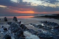 Ηλιοβασίλεμα Woolacombe   Ακτή του βόρειου Devon Στοκ Φωτογραφία