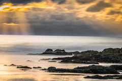 Ηλιοβασίλεμα Woolacombe στοκ εικόνες