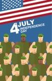 4η Ιουλίου αμερικανική ανεξαρτησία &eta Στρατιώτες πράσινα Berets διανυσματική απεικόνιση