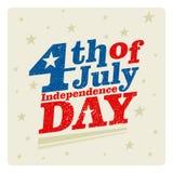 4η Ιουλίου Ευτυχές διάνυσμα ημέρας της ανεξαρτησίας Τέταρτο του σχεδίου χαιρετισμού Ιουλίου Στοκ Φωτογραφία