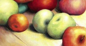 Ηλιοφώτιστα ώριμα πράσινα και κόκκινα μήλα ελεύθερη απεικόνιση δικαιώματος