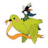 Η ιστορία του περιστεριού, του κοριτσιού νεράιδων, του κουνελιού και ενός καπέλου Στοκ Φωτογραφία