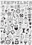 Η ιστορία doodles έθεσε Στοκ εικόνα με δικαίωμα ελεύθερης χρήσης