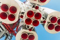Η ιστορική ανατολή πυραύλων μνημείων είναι στη εξέδρα εκτόξευσης πυραύλων στην ισοτιμία Στοκ φωτογραφία με δικαίωμα ελεύθερης χρήσης