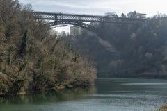 Η ιστορική γέφυρα Paderno, Ιταλία στοκ φωτογραφία