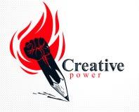 Η ισχυρή έννοια δύναμης σχεδίου ή τέχνης που παρουσιάστηκε ως μολύβι με τη σφιγγμένη πυγμή συνδύασε στο σύμβολο με τη φλόγα πυρκα διανυσματική απεικόνιση