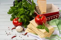 Η ιταλική κουζίνα είναι lasagna προϊόντα για το lasagna Στοκ φωτογραφίες με δικαίωμα ελεύθερης χρήσης