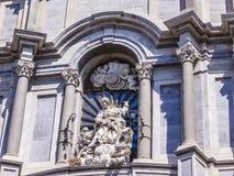 Η Ιταλία, Σικελία, Κατάνια, πλατεία Duomo, απαριθμεί την πρόσοψη καθεδρικών ναών - Cappella Di Sant Agata, που χτίζεται σε ΧΙ αιώ Στοκ Εικόνες
