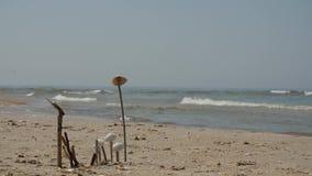 Ηλιόλουστη παραλία, κύματα ήπια που καταβρέχει στη λεπτή αμμώδη παραλία, ηλιόλουστη ημέρα απόθεμα βίντεο
