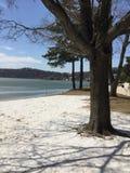 Ηλιόλουστη παραλία Lakefront ημέρας στη λειώνοντας καλυμμένη πάγος λίμνη Στοκ εικόνα με δικαίωμα ελεύθερης χρήσης