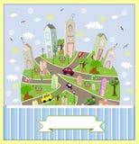 Ηλιόλουστη πόλη άνοιξη επίσης corel σύρετε το διάνυσμα απεικόνισης Στοκ εικόνα με δικαίωμα ελεύθερης χρήσης