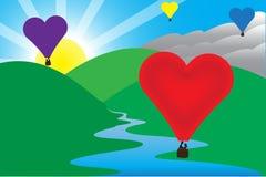 Ηλιόλουστη σκηνή μπαλονιών αέρα αγάπης πρωινού Στοκ εικόνες με δικαίωμα ελεύθερης χρήσης